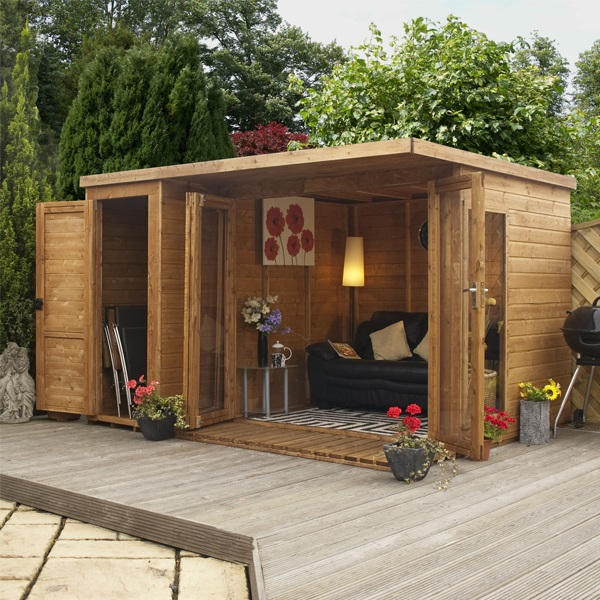 12 X 8 Waltons Contemporary Summerhouse With Side Shed LH