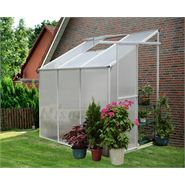 6' x 4' Nison Natural Polycarbonate Lean-To Greenhouse
