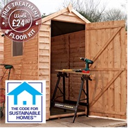 6' x 4' Overlap Apex Shed Sustainable Code Compliant