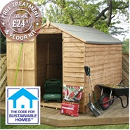 8' x 6' Overlap Windowless Apex Shed Sustainable Homes Code Compliant