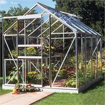 8 x 6 Halls Silver Aluminium Popular Greenhouse with Vent