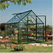 6 x 8 Green Harmony Clear Polycarbonate Greenhouse