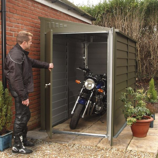 4 4 x 8 7 trimetal motorcycle garage for Motorcycle storage shed