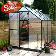 6 x 6 Waltons Green Extra Tall Polycarbonate Greenhouse - With FREE Base!