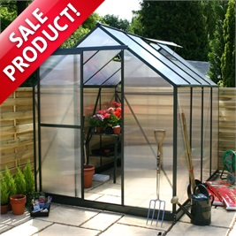 8 x 6 Evesham polycarb greenhouse (dressed for display only)