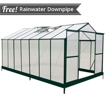 14 x 8 Waltons Green Extra Tall Polycarbonate Greenhouse - With FREE Base!
