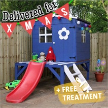 4 x 4 Waltons Honeypot Bluebell Wooden Tower Playhouse with Slide