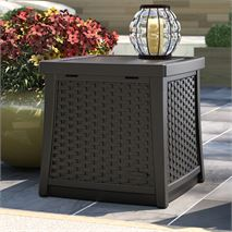 Suncast Wicker Effect Side Table Deck Box - 49L