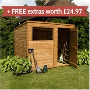 8 x 6 Waltons Tongue and Groove Pent Wooden Shed