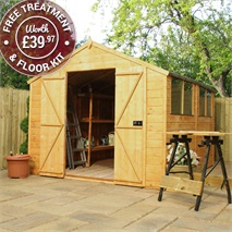 10 x 8 Waltons Tradesman Tongue and Groove Double Door Apex Wooden Shed