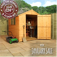8 x 6 Waltons Tongue and Groove Large Door Apex Wooden Shed