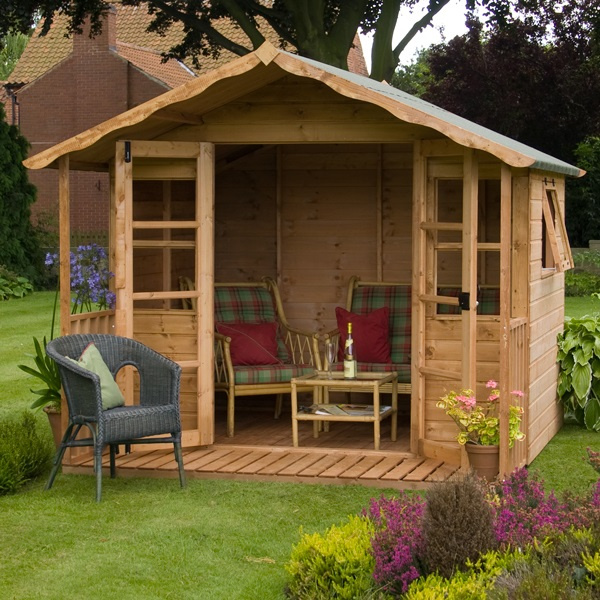 8 x 8 waltons sussex wooden summerhouse for Garden designs with summer house