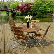 Hallmark Garden Furniture Cypris Livorno Round Table with 4 Folding Armchairs